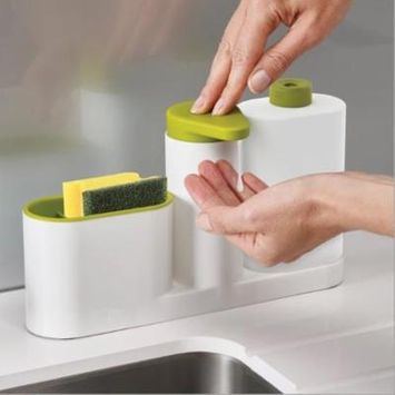 Kitchen Multifunctional Storage Box Kitchen Dishwashing Sponge Wash Cleanser Hand Wash Bottle - Green