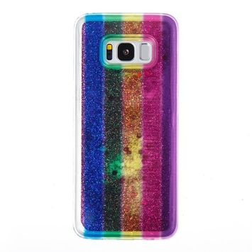 Urberry Galaxy S8 Case, Spark Glitter Running Liquid Case for Samsung Galaxy S8 with a Free Screen Protector
