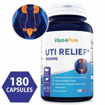 UTI Relief 900mg 180caps (Non-GMO & Gluten Free) Urinary Tract Infection Support with Corn Silk, Queen of The Meadow, Uva Ursi, Juniper, Cleavers - Made in USA - 100% Money Back Guarantee!