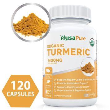 USDA Organic Turmeric Curcumin with Black Pepper Extract Vegan 1400mg per Serving - Joint Pain Relief & Anti-Inflammatory Powder - Organic Black Pepper Instead of BioPerine - 120 Tablets: No Pills