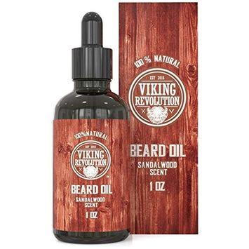 BEST DEAL Beard Oil Conditioner - All Natural Sandalwood Scent with Organic Argan & Jojoba Oils - Softens & Strengthens Beards and Mustaches for Men (Sandalwood, 1 Pack)