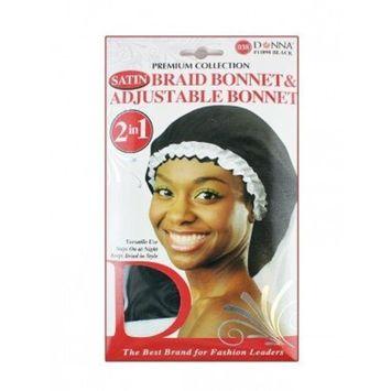 Donna Collection Donna Premium Collection 2in1 Satin Braid Bonnet & Adjustable Bonnet - Black Color