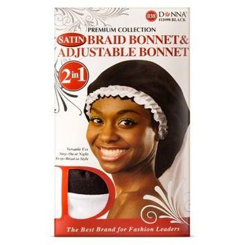 Donna Collection Adjustable Braid Bonnet, Black/White