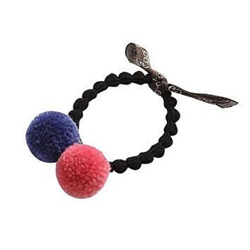 Trenton Cute Bowknot Fur Ball Elastic Hair Rope Ponytail Holder Headband for Women