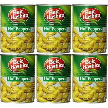 Beit Hashita Hot Peppers, 19.7oz Can (Pack of 6, Total of 118.2 Oz)