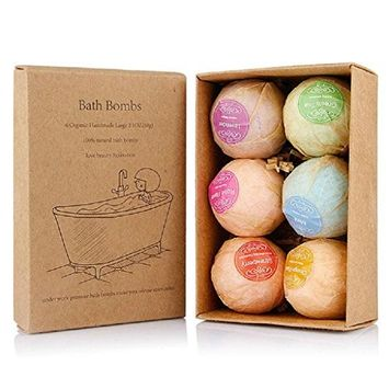 Bath Bombs Gift Set, FirstFly 6PCS Organic Bubble Bath Salts Ball Handmade Spa Bomb Fizzies with Essential Oils for Aromatherapy, Relaxation, Moisturizing