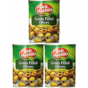 Beit Hashita Green Pitted Olives, 19.7oz Can (Pack of 3, Total of 59.1 Oz)