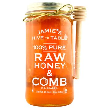 Jamie's Hive to Table 100% PURE Raw Honey & Honey Comb, 100% Natural, Nature Made Honey with No Fillers, 16 Oz. Jar with Honey Dipper