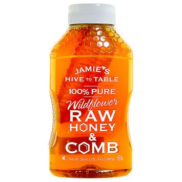 Jamie's Hive to Table 100% PURE WILDFLOWER Raw Honey Comb, Nature Made Honey with No Fillers, 24 Ounces