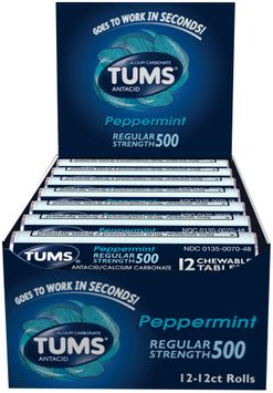 Tums® Regular Strength 500 Peppermint Antacid Chewable Tablets 12-12 ct Rolls