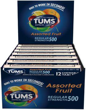 Tums® Regular Strength 500 Assorted Fruit Antacid Chewable Tablets 12-12 ct Rolls