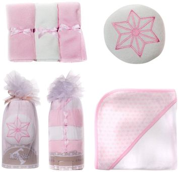 Sleeping Partners Tadpoles Girls 5 Piece Pink Hooded Towel Gift Set
