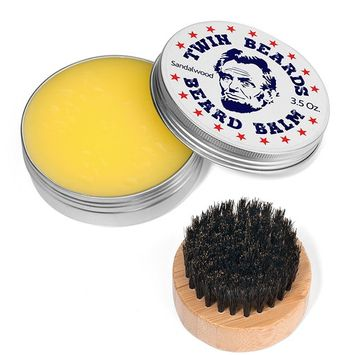 Twin Beards Set 3.5 oz Sandalwood Beard Balm & Boar Bristle Brush & Travel Tin