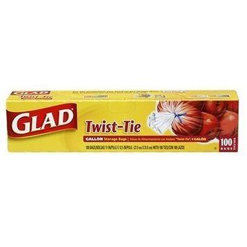 Glad Storage Bags, Original Twist-Tie, Gallon Size 100 bags