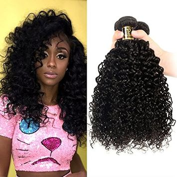 Yavida Peruvian Curly Human Hair 3 Bundles 8A Unprocessed Virgin Peruvian Kinky Curly Hair Bundles Kinkys Curly Hair Weave Extensions Natural Black Color (10 12 14 16)