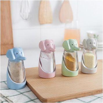 Kitchen Tool Cute Elephant Spice Sugar Pepper Herb Salt Shaker Storage Bottle