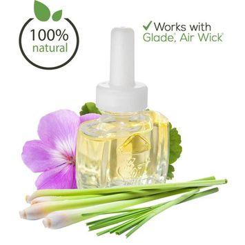 (3 Pack) 100% Natural Geranium Lemongrass Plug in Refill - Fits Glade, Air Wick