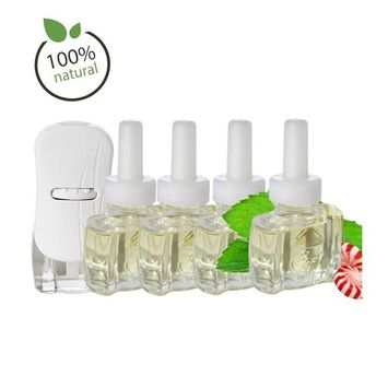 Glade Plugin Oil Warmer Kit with 4 100% Natural Peppermint Refills