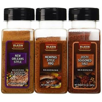 Blazin Blends Variety 3 pack Seasonings and Rubs - Memphis Style BBQ Rub 9 oz. - New Orleans Style Rub 7 oz. - Zesty Seasoned Salt 9.5 oz.