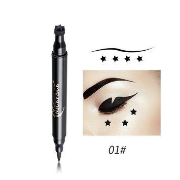 Pettstore Fashion Shaped Seal Eyeliner Liquid Pen Double Head Waterproof Star Moon Heart Plane Lip Pattern (Star)