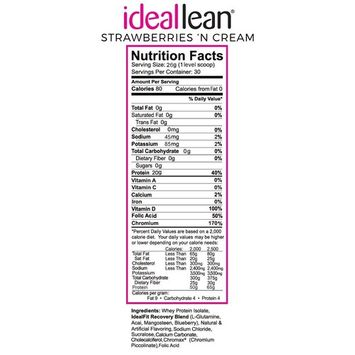IdealLean, Protein Powder for Women, 20g Whey Protein Isolate, Calcium, Folic Acid, 30 Serving (Strawberries and Cream)