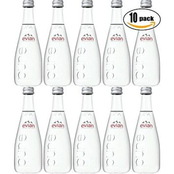 Evian Natural Spring Sparkling Water, 11.2oz Glass Bottle (Pack of 10, Total of 112 Oz)