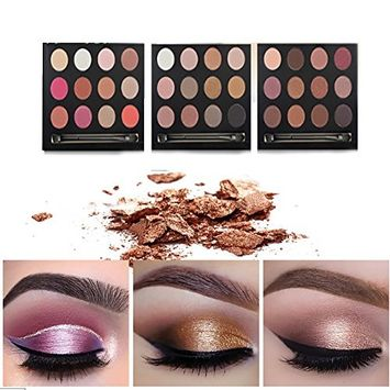 Vinmax 12 Color Eyeshadow Palette,Shimmer Eye Shadows Nudes Smoky Warm Color Glitter Kit Make Up Brush Set Waterproof Beauty Eyeshadow Palette-3#