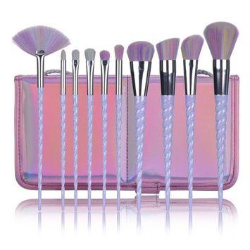 SJZ TECH 10Pcs Unicorn Design Handle Shape Makeup Brushes Tools Set White Hair Synthetic Foundation Brush Eyeshadow Blusher