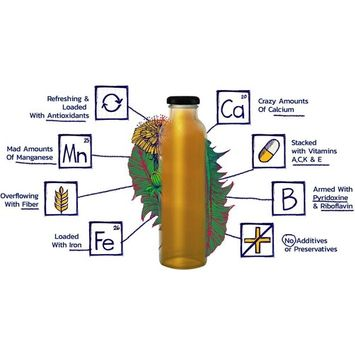 Dandelion Root Tea LION (Lemon Honey) Super Detox Tea Anti-inflammatory and Antioxidant Boost Immune System Delicious and Refreshing Bottled Tea Using Dandelion Leaf, Root