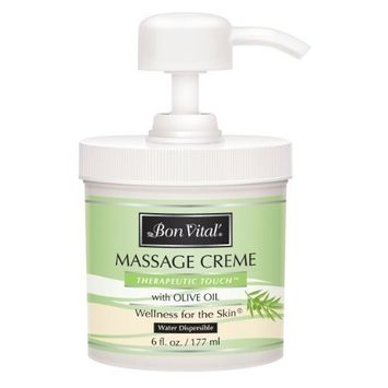 Bon Vital Therapeutic Touch Massage Creme, 6 oz. Jar with Pump