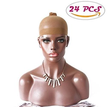 DLOnline 24 PCS Nylon Wig Caps for Women and Men,Stretchy Close End Stocking Wig Caps,Skin Color Stretchy Close End Stocking Wig Caps