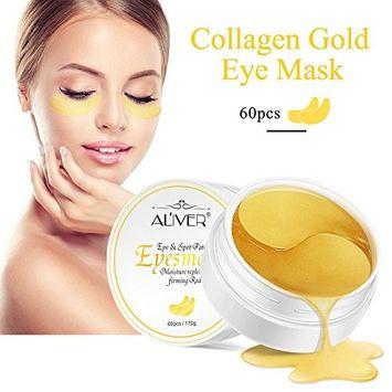 Gold Eye Mask, Gold Collagen Eye Mask Gold Eye Pads- Anti Aging, Wrinkles, Moisturising, Blemishes, Firming, Toning, Dark Circles, Smoothing Skin(60pcs)