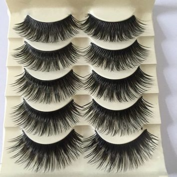 Polytree 5 Pair Exaggerated Long Thick Cross False Eyelashes Stage Party Fake Lashes
