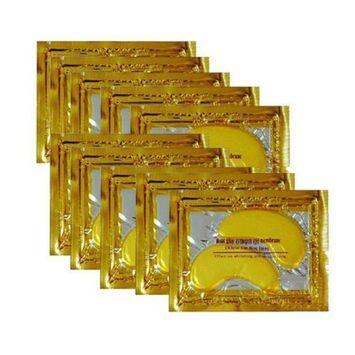 ALIVER 10pack Crystal 24K Gold Collagen Eye Mask - Anti Aging, Wrinkles, Moisturising, Blemishes, Firming, Toning, Dark Circles, Smoothing Skin, Natural Lift
