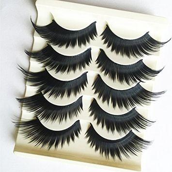 5 Pairs 3D Cross Thick Long False Eyelashes Stage Makeup Fake Eye Lashes Black