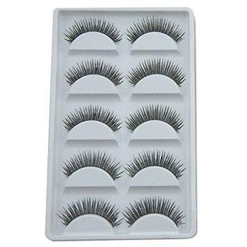 Polytree 5 Pairs False Eyelashes Black Long Cross Thick Fake Eye Lashes Extension Makeup Tool