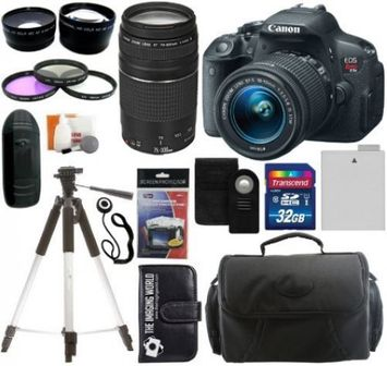 The Imaging World Canon EOS Rebel T5i Digital Camera SLR Kit With Canon EF-S 18-55mm IS II STM Lens + Canon EF 75-300mm f/4.0-5.6 III Autofocus Lens + 64GB Card and Reader + Wide angle and Telephoto Lenses + Tripod + Battery + Filters + Accessory Kit