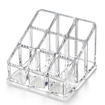 Acrylic Makeup & Lipstick Organizer, 9 Slots, Cosmetic Brush Holder, Beauty Display Container, By AcryliCase