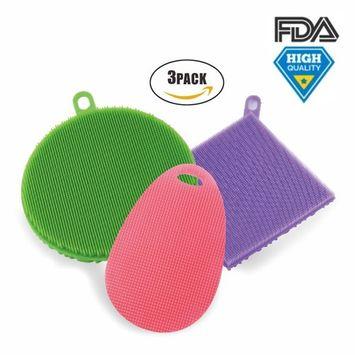 Silicone Sponge Scrubber Set Multipurpose Food-grade Antibacterial Smart Dish Sponge BPA Free for Kitchen Pack of 3