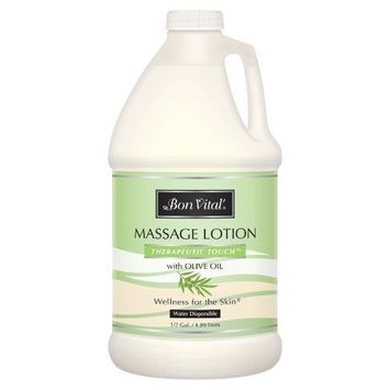Bon Vital' Therapeutic Touch Massage Lotion Made with Olive Oil to Repair Dry Skin & Soothe Sore Muscles, Best Skin Therapy Lotion, Moisturizes Skin During Massages for Smooth Skin, 1/2 Gallon Bottle [Therapeutic Touch]