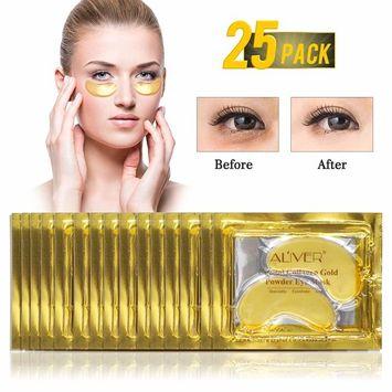 24K Gold Powder Gel Collagen Eye Mask, Anti Aging, Anti Wrinkle, Moisturiser for Under Eye Wrinkles, Remove Bags Under Eyes, Eye Bag Removal, Under-eye, Dark Circles,Hydrating, Puffy Eyes (25 Pairs)