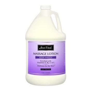 Bon Vital' Deep Tissue Massage Lotion for Deep Tissue Massages and Muscle Relaxation, Moisturizer Leaves No Greasy Feeling, Penetrates Deeply to Repair and Soften Skin During Massage, 1 Gallon Jar [Deep Tissue]