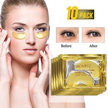 Aliver New Crystal 24K Gold Powder Gel Collagen Eye Mask, Anti Aging Moisturizing Anti Wrinkles Reducing Dark Circles Puffiness for Eye Skin Care 10 Pairs
