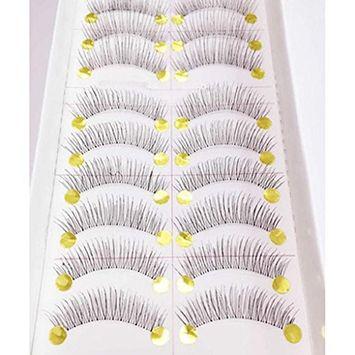 Polytree 10 Pairs Long Thick False Eyelashes Natural Black Handmade Fake Eye Lashes