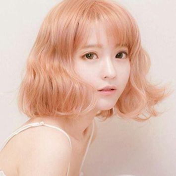 DLOnline Golden pink wig,Blonde Hair Wig,Pink Curly Cosplay Wig,Short Golden Pink Curly Air,Pink Curly Cosplay Wig(12 inch