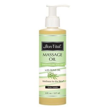 Bon Vital' Therapeutic Touch Massage Oil Made with Olive Oil to Repair Dry Skin & Soothe Sore Muscles, Lightweight Oil Perfect for Any Massage to Hydrate and Nourish Dry, Rough Skin, 8 Ounce Bottle