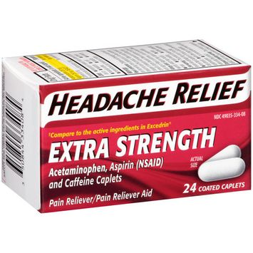 Lnk International Headache Relief Extra Strength Acetaminophen Pain Reliever/Pain Reliever Aid Coated Caplets, 24 count (Pack of 2)
