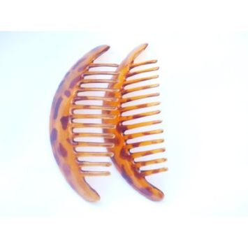 Interlocking Banana Combs Hair Clip French Side Combs Holder (Animal Print Brown)