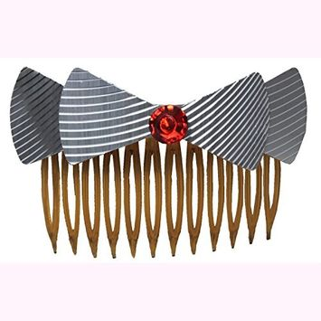 Set of 2 Metallic Bow and Faux Jewel Hair Combs