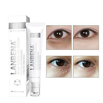 VANKER LANBENA Snail Repair Eye Serum Natural Anti-aging Eye Treatment Cream Hydrating Dark Circle Triple Rollerbar Best Gift For All Skin Types